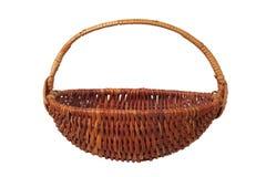 Wicker basket on white. Empty wicker basket isolated on white background Stock Photos