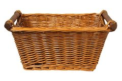 Wicker basket on white royalty free stock images