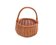 Wicker Basket On White. Nice empty wicker basket on white background. Clipping path is included Royalty Free Stock Photo