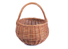Wicker basket on white two Royalty Free Stock Images