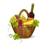 Wicker basket with wine products Stock Photos