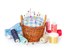 Wicker Basket With A Cushion For Needles, Threads And Measuring Royalty Free Stock Photo