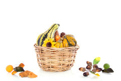 Wicker basket with yellow and green squashes Royalty Free Stock Photography