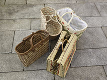 Wicker baskets. Four baskets detail Royalty Free Stock Images