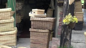 Wicker Baskets, Arts & Crafts, Containers stock footage