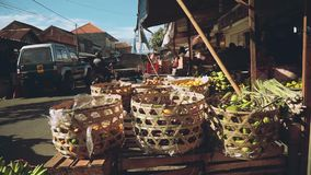 Wicker baskets in balinese market street stock video
