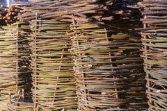 Wicker baskets, wicker bask, wicker hand basket royalty free stock image