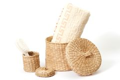 Wicker baskets with bath accessories Royalty Free Stock Image