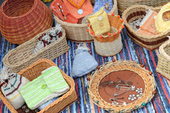 Wicker baskets, bowls, containers Stock Photo