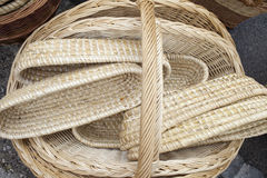 Wicker baskets and boxes Royalty Free Stock Photo