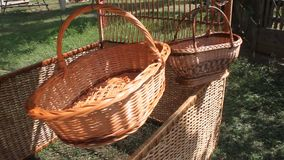 Wicker baskets braided Stock Image