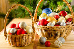 Wicker baskets with Christmas glassballs Stock Images
