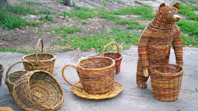 Wicker baskets, cup and the bear Royalty Free Stock Images