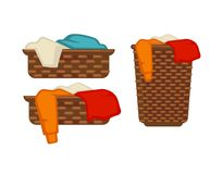 Wicker baskets with dirty laundry isolated illustrations set Royalty Free Stock Image