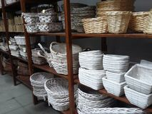 Showcase of wicker baskets stock images
