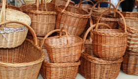 Wicker baskets handcrafted by a skilled craftsman Stock Photo