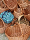 Wicker baskets handcrafted by a skilled craftsman Royalty Free Stock Photos