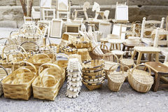 Wicker baskets handmade Stock Photography