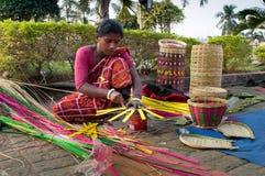 Wicker baskets, Indian handicrafts fair at Kolkata Stock Image