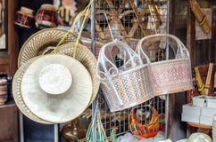 Wicker baskets made with bamboo and Hats woven made from palm leaves Royalty Free Stock Photography