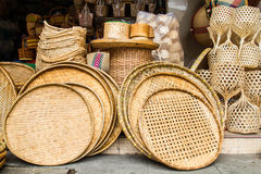 Wicker baskets. Many kind of hand made wicker baskets in a shop Stock Photos