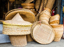 Wicker baskets. Many kind of hand made wicker baskets in a shop Royalty Free Stock Image
