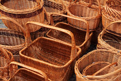 Wicker baskets on market Stock Image