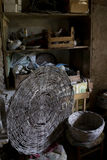 Wicker baskets in an old basement of a farm Stock Images