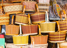 Wicker baskets. A pile of hand made wicker baskets Royalty Free Stock Photos