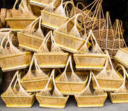 Wicker baskets. A pile of hand made wicker baskets Stock Photo