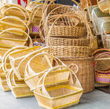 Wicker baskets. A pile of hand made wicker baskets in  a shop Royalty Free Stock Photography