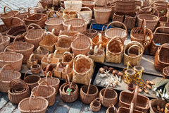 Wicker baskets ready for sale at the market Royalty Free Stock Photo