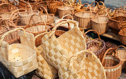 Wicker baskets ready for sale at the market Royalty Free Stock Image