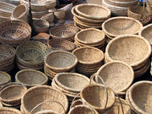 Wicker baskets for sale. Overhead view of wicker basket for sale outdoors, Chandaneshwar, Orissa, India Stock Photography