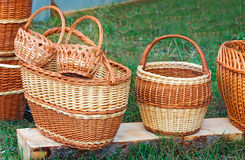 Wicker baskets for sale at the fair. Royalty Free Stock Images