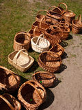 Wicker baskets for sale Stock Photography