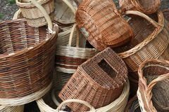 Wicker baskets for sale at the local flea market Royalty Free Stock Photography
