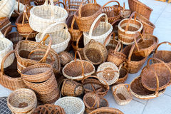 Wicker baskets for sale Stock Photos