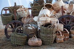 Wicker baskets sells at a street market Royalty Free Stock Photos