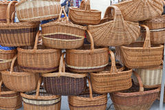Wicker baskets sells at street market Stock Photos
