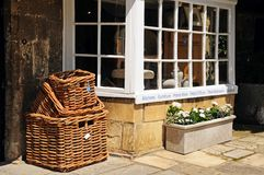 Wicker baskets and shop window, Broadway. Royalty Free Stock Photography