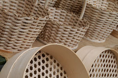 Wicker baskets and  sieves Stock Images
