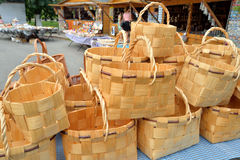 Wicker baskets in a souvenir shop. Royalty Free Stock Photo