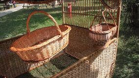 Wicker baskets spinning stock video footage