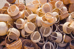 Wicker baskets in the summer fair Royalty Free Stock Images