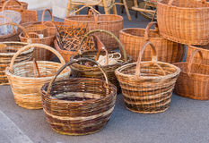 Wicker baskets. Various wicker baskets for sale at the local market Stock Photography
