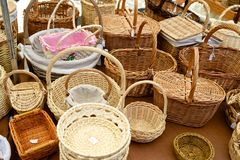 Wicker baskets view Stock Images