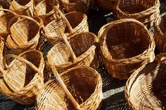 Wicker baskets view Royalty Free Stock Photography