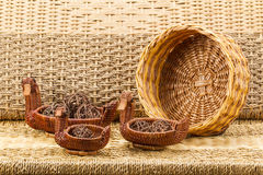 Wicker baskets on white background. Duck Royalty Free Stock Photos