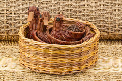 Wicker baskets on white background family, ducklings, fun branches, handmade. Baskets on white background family, ducklings, fun branches, handmade Royalty Free Stock Images